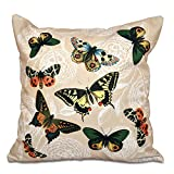 E by design 26 x 26-inch, Antique Butterflies and Flowers, Animal Print Pillow, Taupe (beige)