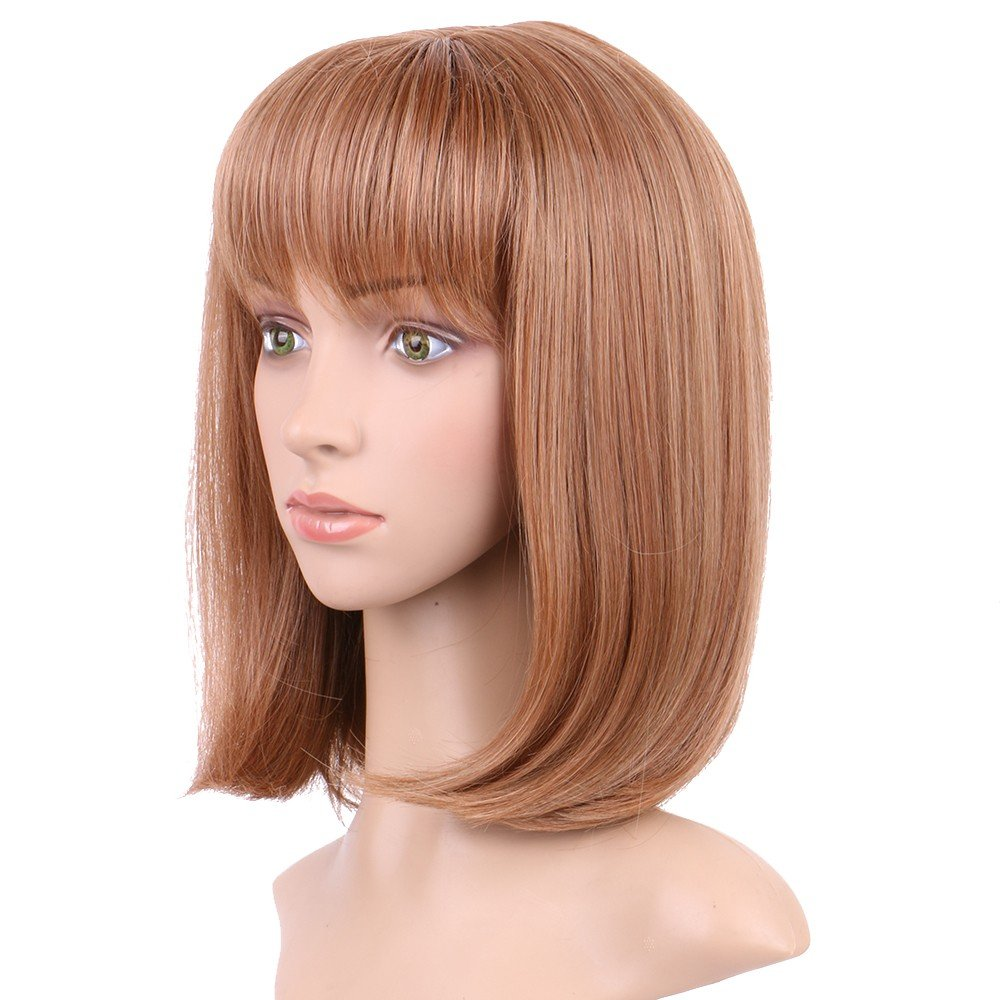S-noilite Synthetic Wig Real Thick Heat Resistant Straight Full Head Wig With Bangs (Auburn Ginger 472)