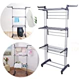 Zerone Laundry Drying Rack, Foldable 3 Layer Tier Clothes Airer Hanger Dryer Stand Rack, Washing Clothes Folding Horse Airer Indoor Outdoor Laundry Drying Rail Rack Hanger with 2 Hooks and Wheels