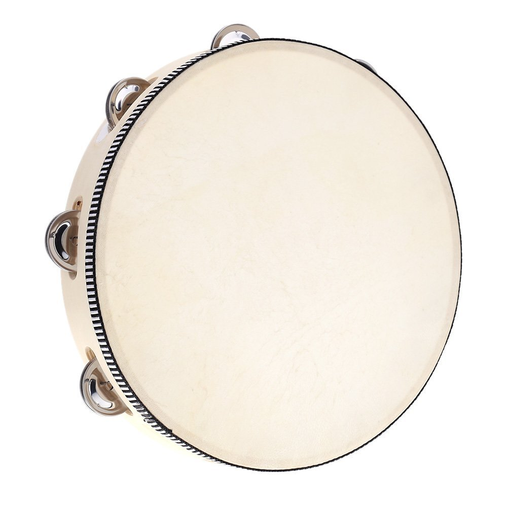 Andoer 10'' Hand Held Tambourine Drum Bell Birch Metal Jingles Percussion Musical Educational Toy Instrument for KTV Party Kids Games