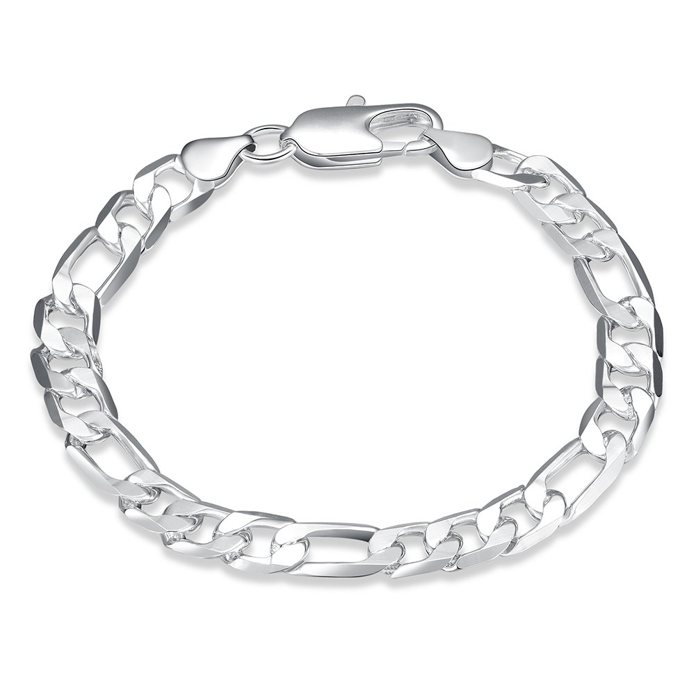 Neevas Fashion Men Concise Silver Plated Chain Bracelet Brangle Boy Gift NV0033