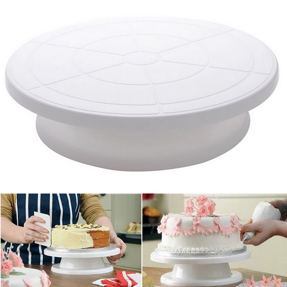 BESTOMZ Manual-Operated Cake Revolving Cake Decorating Stand Rotating Turnable Cake Base Baking Tool