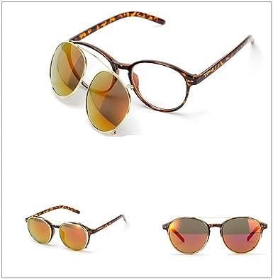 Retro Sonnenbrille Steampunk Stil Fahrerbrille Hiphop Punk Runder Metallrahmen Polarisiert Für Frauen und Männer Sunglasses Outdoor Sport Brillen (One Size, Rot)