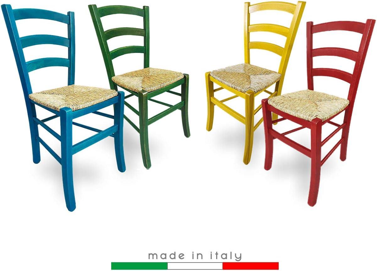 ZStyle Chaise en paille modèle Venezia en bois coloré, pour restaurant, gîte, cuisine vert, bleu, jaune, rouge