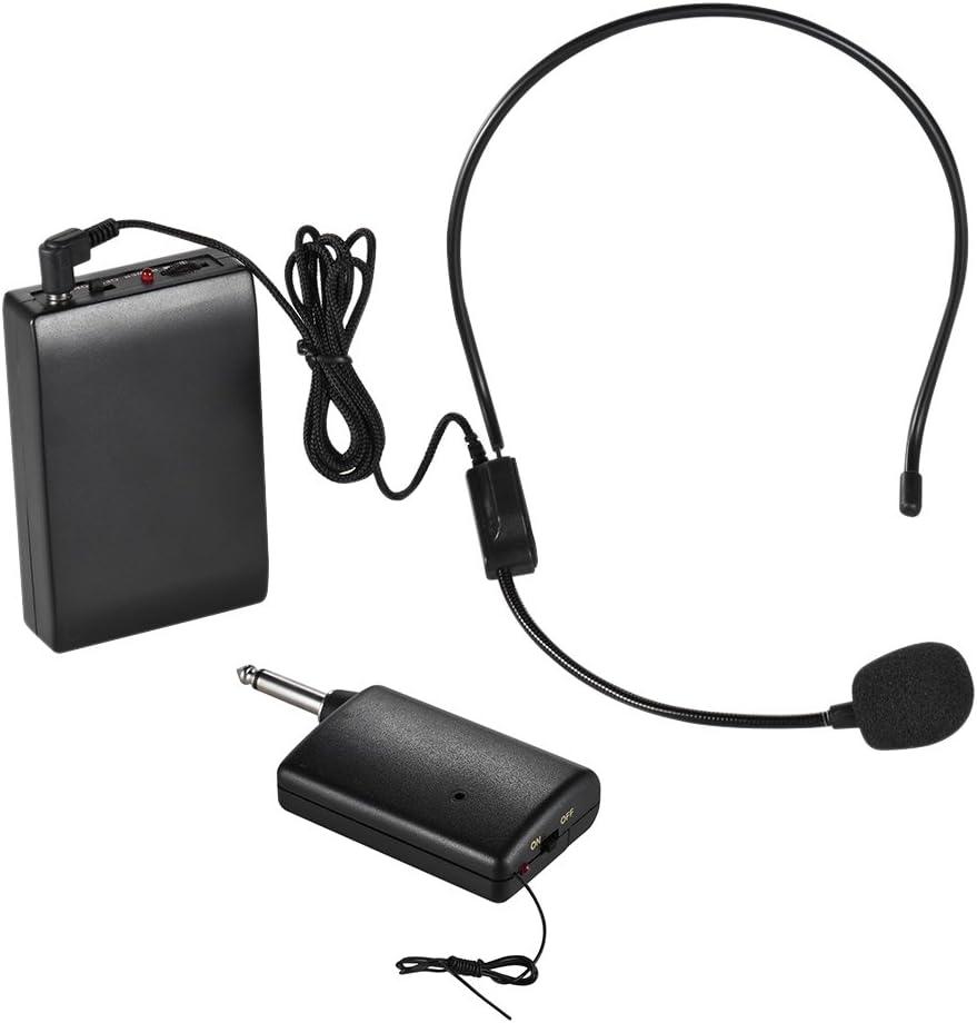 ammoon Portátil Micrófono Inalámbrico FM Sistema de Auriculares Amplificador de Voz Enchufe de Salida 1 / 4in con el Receptor del Transmisor del Bodypack para el Profesor Altavoz Instructor de Yoga