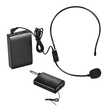 ammoon Portátil Micrófono Inalámbrico FM Sistema de Auriculares Amplificador de Voz Enchufe de Salida 1/
