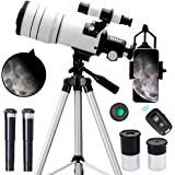 ToyerBee Telescope for Kids &Adults &Beginners,70mm Aperture 300mm Astronomical Refractor Telescope(15X-150X),Portable Travel