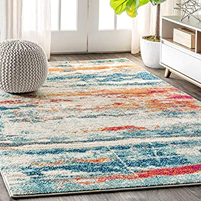 JONATHAN Y Contemporary POP Modern Abstract Brushstroke Cream/Blue 5 ft. x 8 ft. Area Rug, Bohemian, Easy Cleaning, For Bedroom, Kitchen, Living Room, Non Shedding - [PET-FRIENDLY AND DURABLE]: Durable enough for high-traffic areas, this soft and comfortable area rug is perfect for families with kids. Low-pile synthetic rug fibers won't trap dirt and debris, so they're pet-friendly and easy to clean. Our trendsetting rug designs are perfect for the living room, dining room, kitchen, entry, bedroom, or home office. [STAIN-RESISTANT AND NON-SHEDDING]: This rug is made from synthetic fibers that are water resistant, stain resistant, and help deter mold and mildew. It's been machine-woven so the rug fibers will stay put. When properly cared for, this rug won't shed fluff into your home. Natural fibers such as jute may shed temporarily. [EASY TO CARE FOR]: Vacuum regularly to prevent grit from breaking down the fibers. Always raise or turn off the beater bars on your vacuum; use a broom to sweep fringed edges clean. Spot clean stains immediately with a mild detergent or carpet cleaning product, then rinse thoroughly and blot dry. Professional rug cleaning is recommended. - living-room-soft-furnishings, living-room, area-rugs - 61OCSxRAEmL. SS400  -