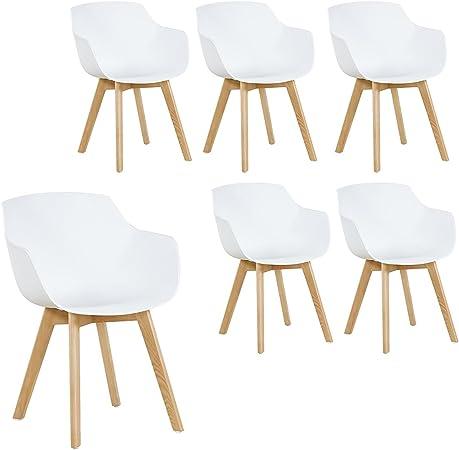 HJ WeDoo Lot de 6 Chaise Salle à Manger, Fauteuils Scandinave de Chaise latérale Design rétro avec Jambe de Bois de hêtre Massif Blanc