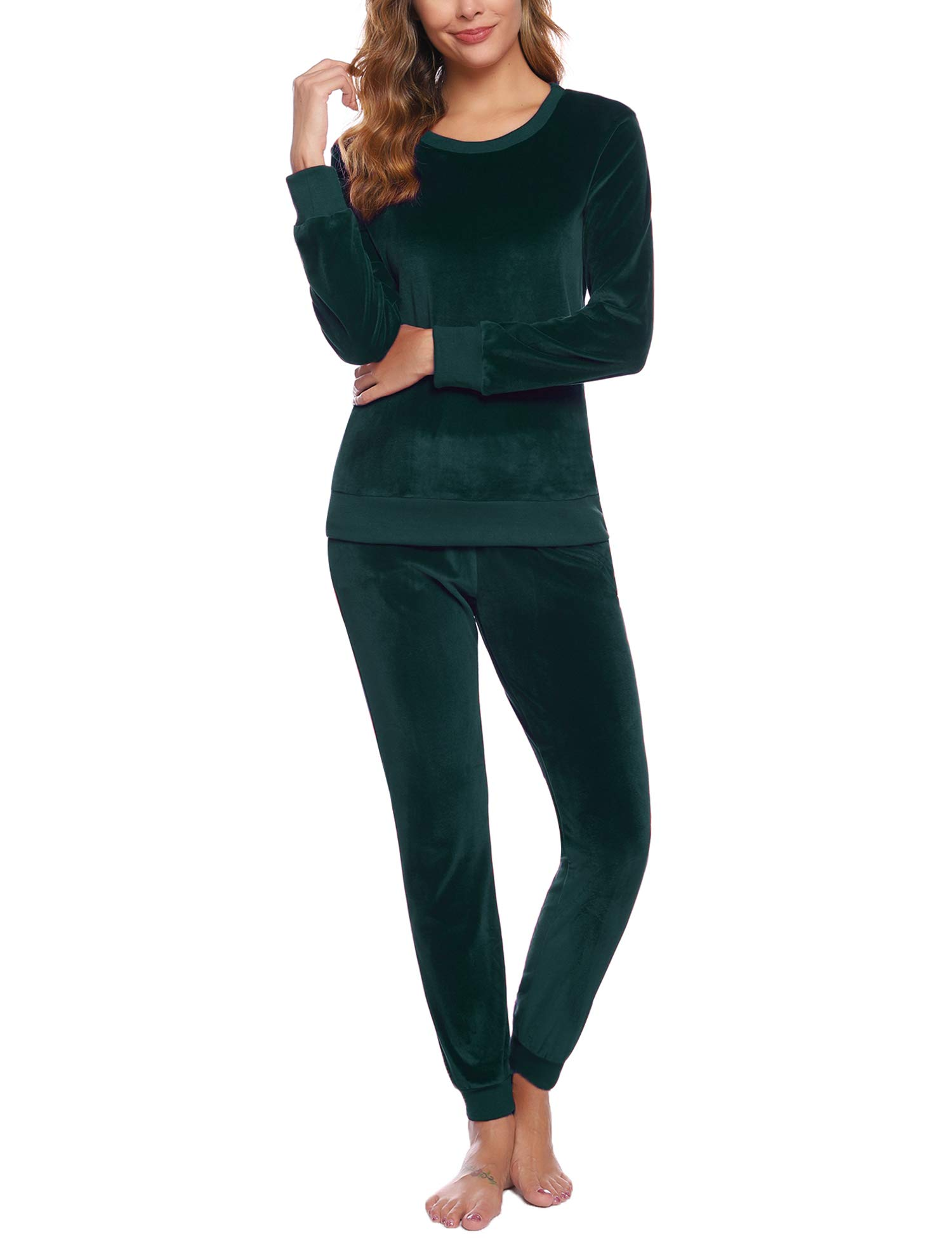 Abollria Women's Solid Velour Sweatsuit Set Sport Suits Tracksuits Deep Green by Abollria
