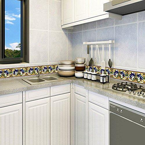 Mznm Patrón De Flores Azules Pegatinas De Pared Para Gabinete Estufa Baldosas Cocina Baño Tatuajes De Pared Adhesivo Decoración Para El Hogar: Amazon.es: ...