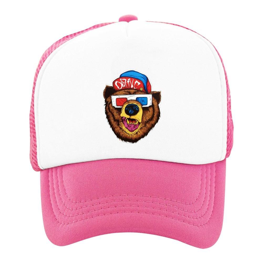 Kids Baseball Cap Bear with 3D Glasses Classic Mesh Outdoor Hat