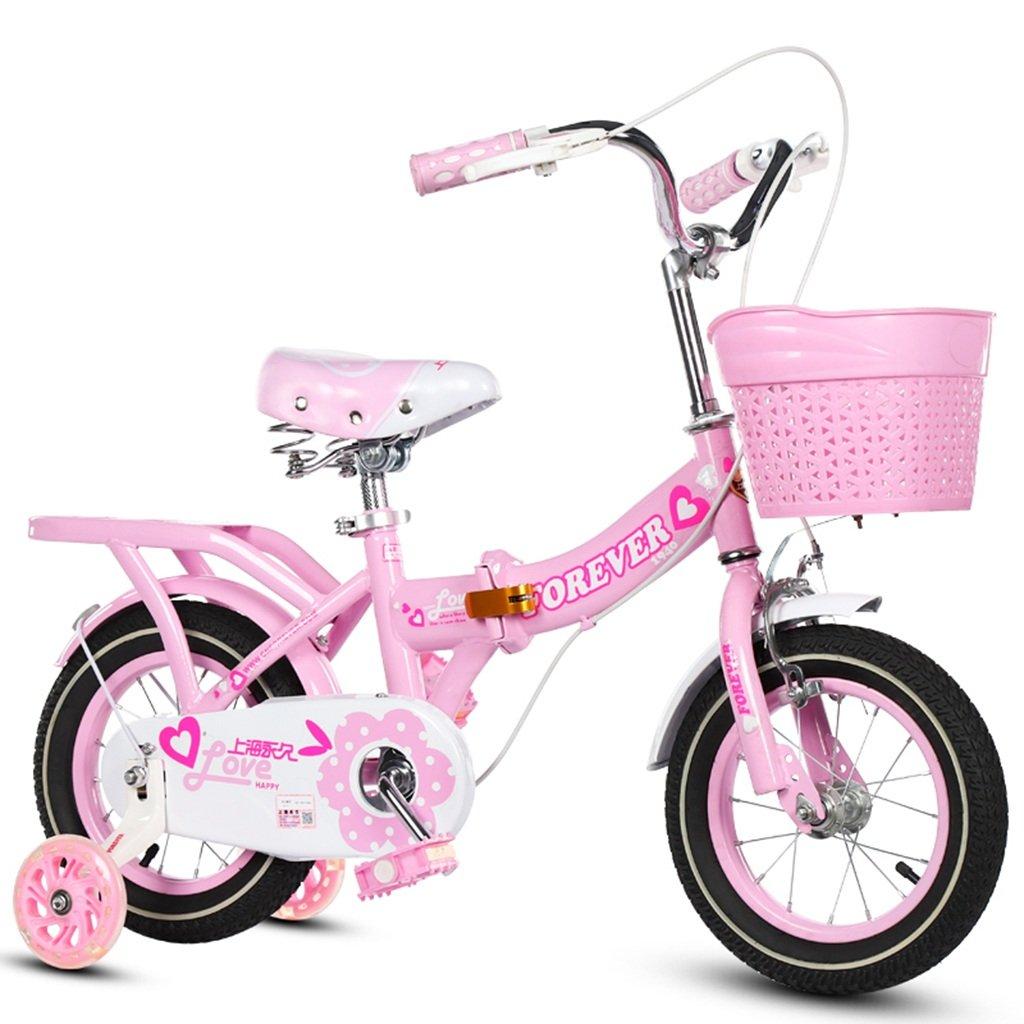 CSQ 折りたたみ自転車、男の子、女の子自転車自転車小児用自転車3-11歳の赤ちゃん補助ホイール自転車88-121CM 子供用自転車 (色 : ピンク ぴんく, サイズ さいず : 115CM) B07DQCW1R2 115CM|ピンク ぴんく ピンク ぴんく 115CM
