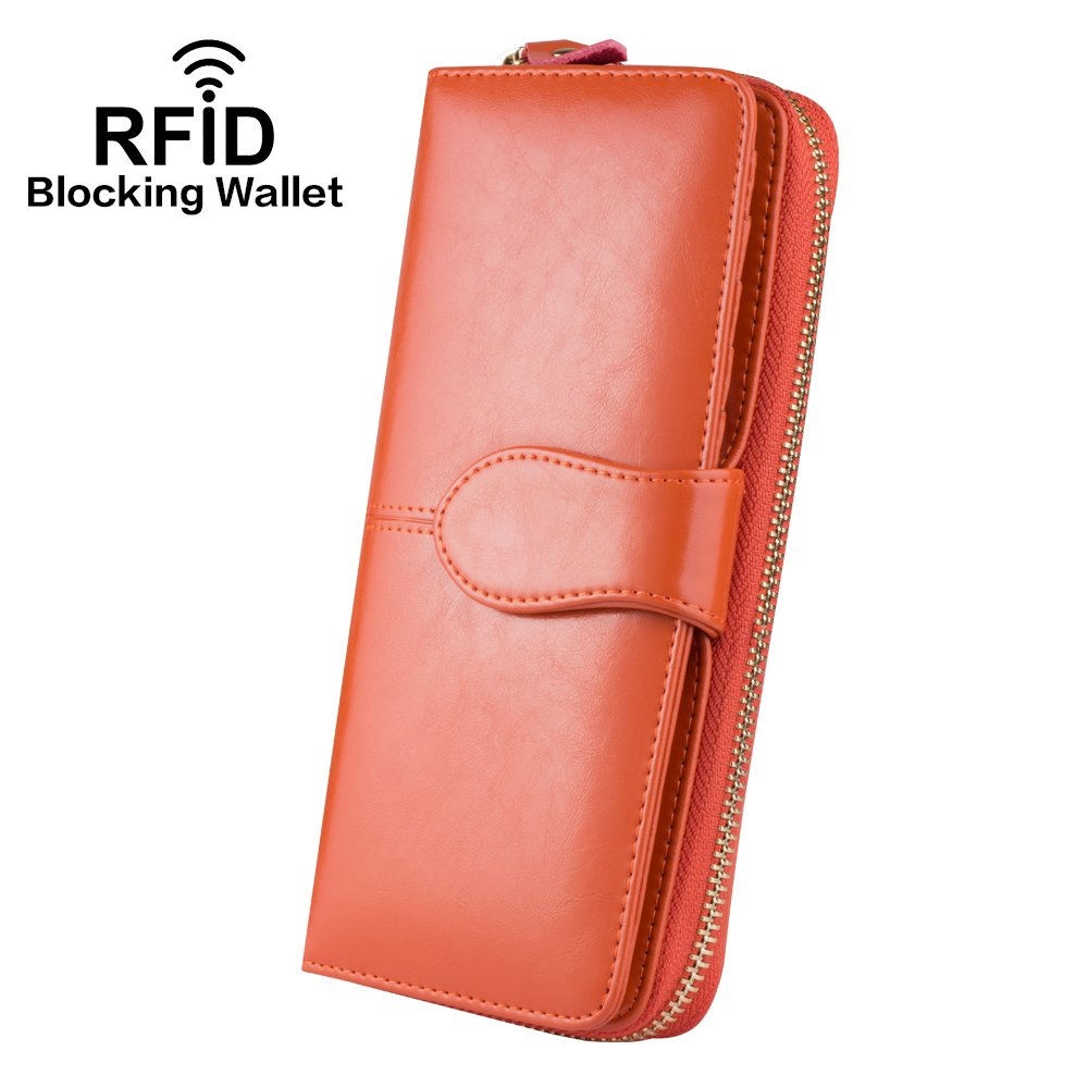 Wallets for Women, Ccinny Ladies Travel Purse Clutch Leather Wallet … (Orange)