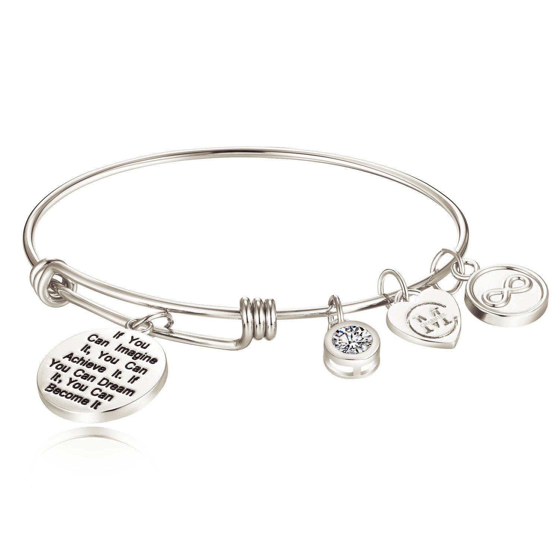 Sisters Inspirational Charm Engraving Bangle Bracelet Charmire CMB006RG