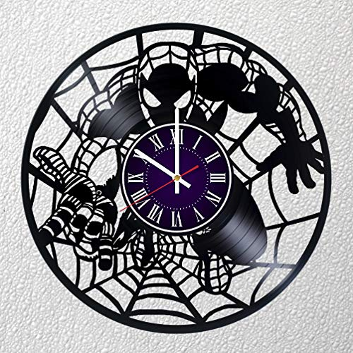 Vinyl Record Store - Identica Store Spiderman Vinyl Record Wall Clock - Room Wall Decor - Art Gift Modern Home Record Vintage Decoration Gift for Him and Her - Gift for Fan Gifts for Boys Man Girls w