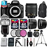 Holiday Saving Bundle for D3400 DSLR Camera + 18-55mm VR Lens + 0.43X Wide Angle Lens + 2.2x Telephoto Lens + Flash with LCD Display + 1yr Extended Warranty + 64GB Storage - International Version
