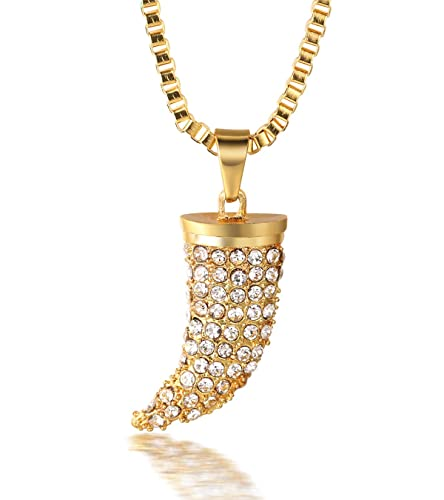 27cedc15609fe Halukakah ○ Kings Landing ○ Men s 18k Real Gold Plated Wolf Fang Tooth Pendant  Artificial Diamond Set Necklace with Free Box Chain 30