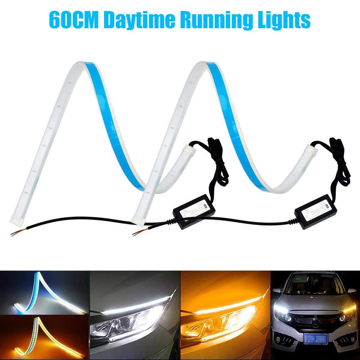 YANF Flexible Dual Color Blue Sequence Amber LED Strip Lights DRL Switchback Headlight /& Turn Signal Lights Tube Fit for Any 12V Cars 2x45CM Daytime Running Lights