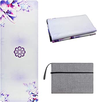 Umineux Travel Yoga Mat - Natural Rubber Foldable 1/16 Inch Thin Yoga Mat, Sweat Absorbent Non Slip, Eco-Friendly Suede Mat with Carrying Bag for Hot ...