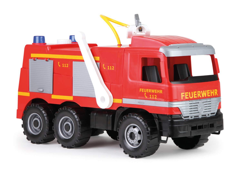Lena 20101 - - - Starke Riesen Feuerwehr Mercedes Benz Actros, ca. 65 cm, großes Feuerwehrauto mit 3 Achsen, 1,5 Liter Wassertank, Wasserkanone bis 8 Meter, robustes Spielfahrzeug für Kinder ab 3 Jahre d88f20