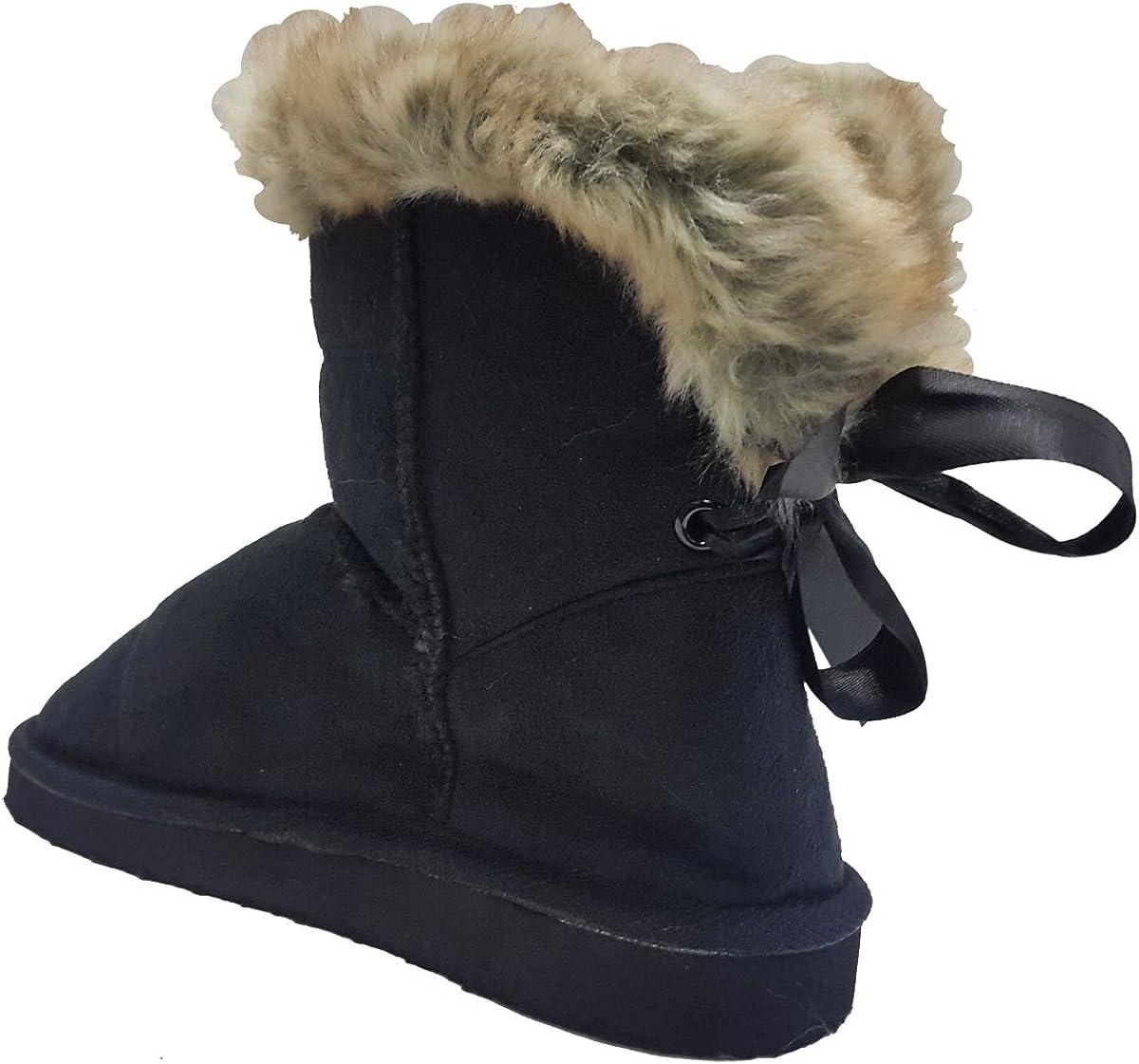 Comfncy Elegant Little Kids Girls Fashion Faux Suede Slip on Ankle Flat Boots