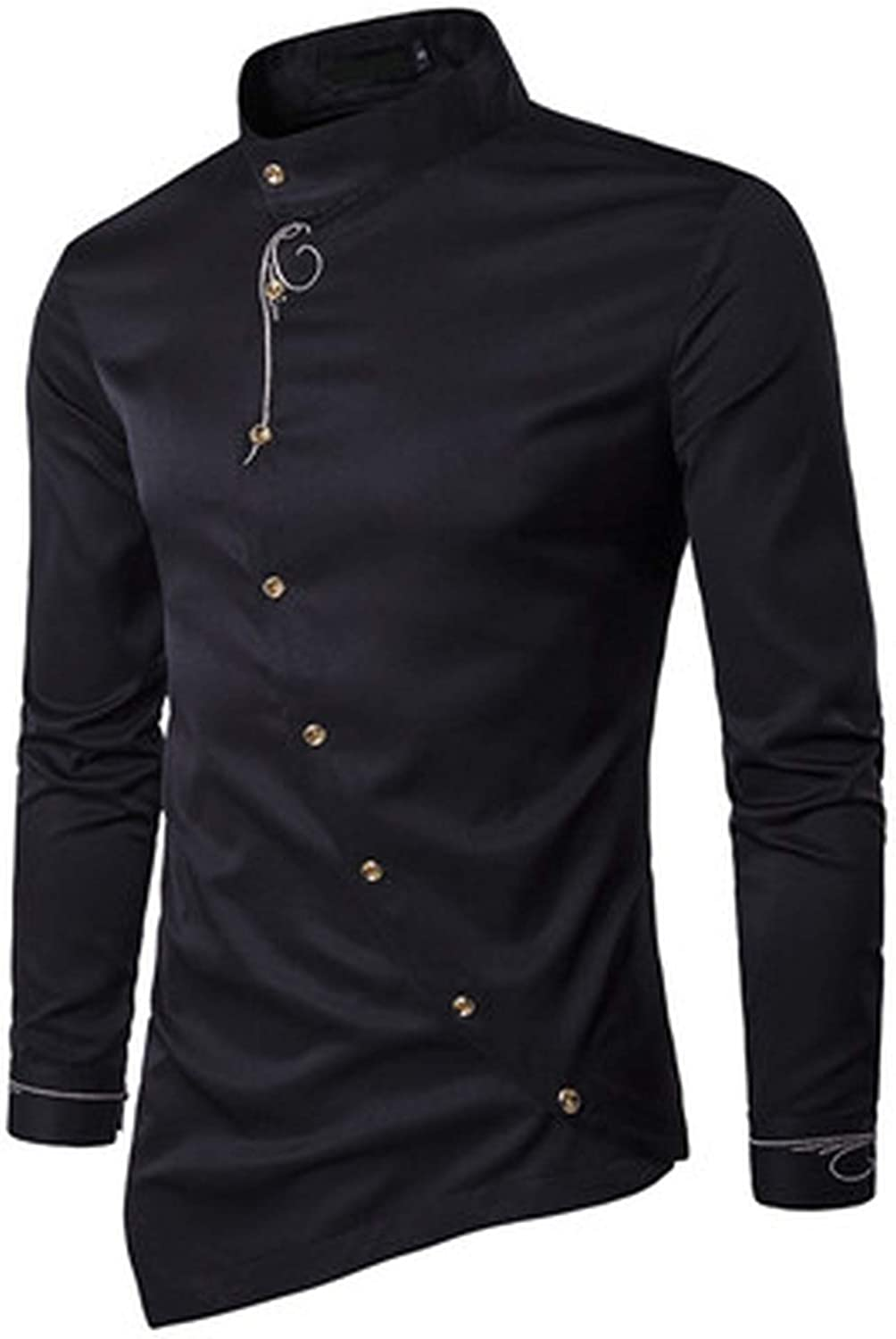 Ting room 2019 New Mens Fashion Cotton Long Sleeved Shirt Solid Color Slim Fit Shirts,Black Asian Size S