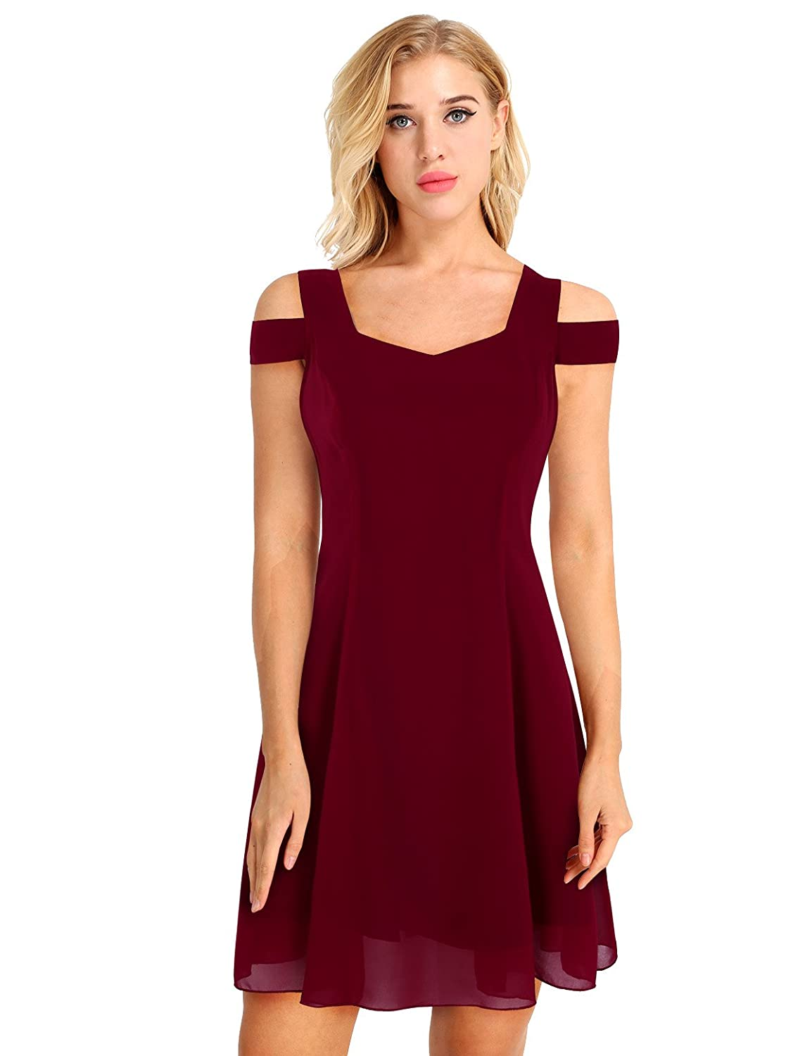 YiZYiF Womens Summer Cold Shoulder Homecoming Swing Dress for Juniors