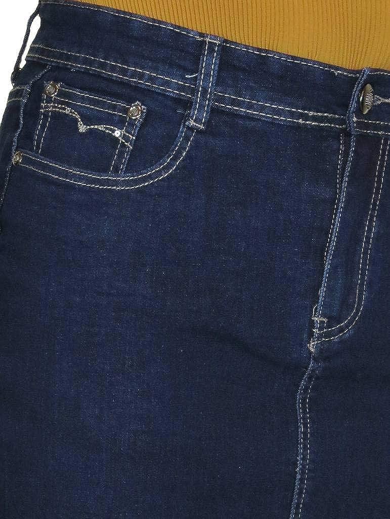 ICE Stretch Denim Jeans Pencil Skirt Indigo Dark Blue 8-20