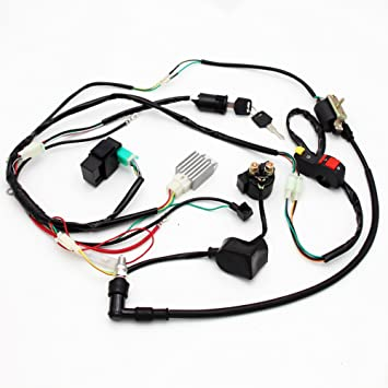 Amazon.com: Electric Start Wiring Harness Wire Loom For Pit ... on 110 loncin wiring diagram, 110 mini chopper wiring diagram, 110 pit bike coil, 110 pit bike honda, 110 pit bike timing, 110 atv wiring diagram, 110 pit bike parts, 110 electrical wiring diagram, 110 pit bike spark plug,
