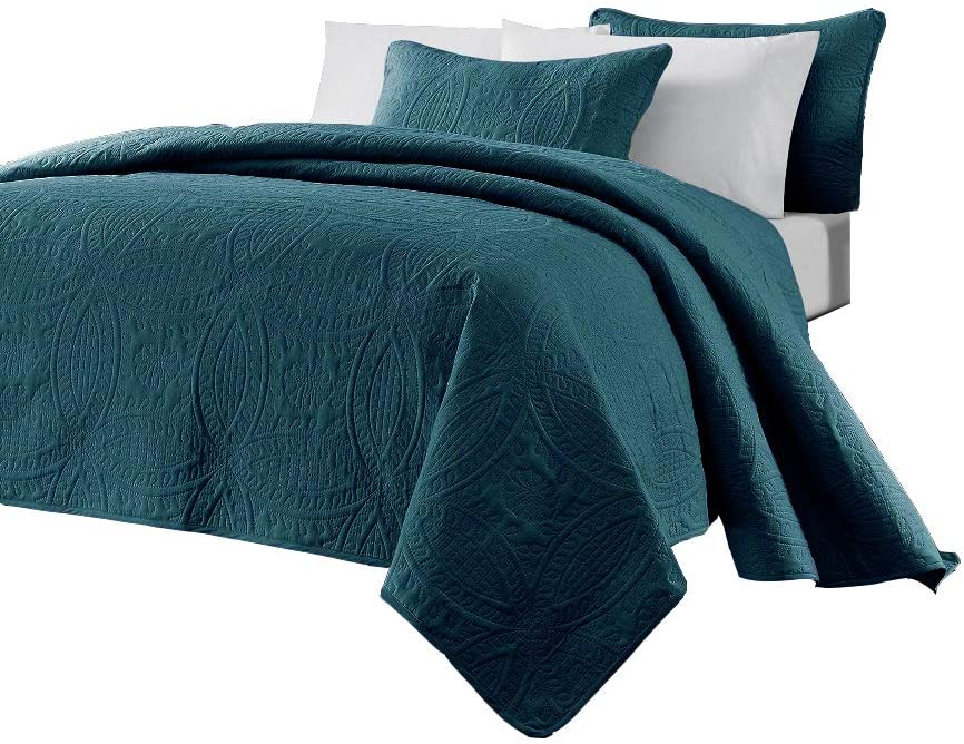Chezmoi Collection Austin 3-Piece Oversized Bedspread Coverlet Set (King, Teal)