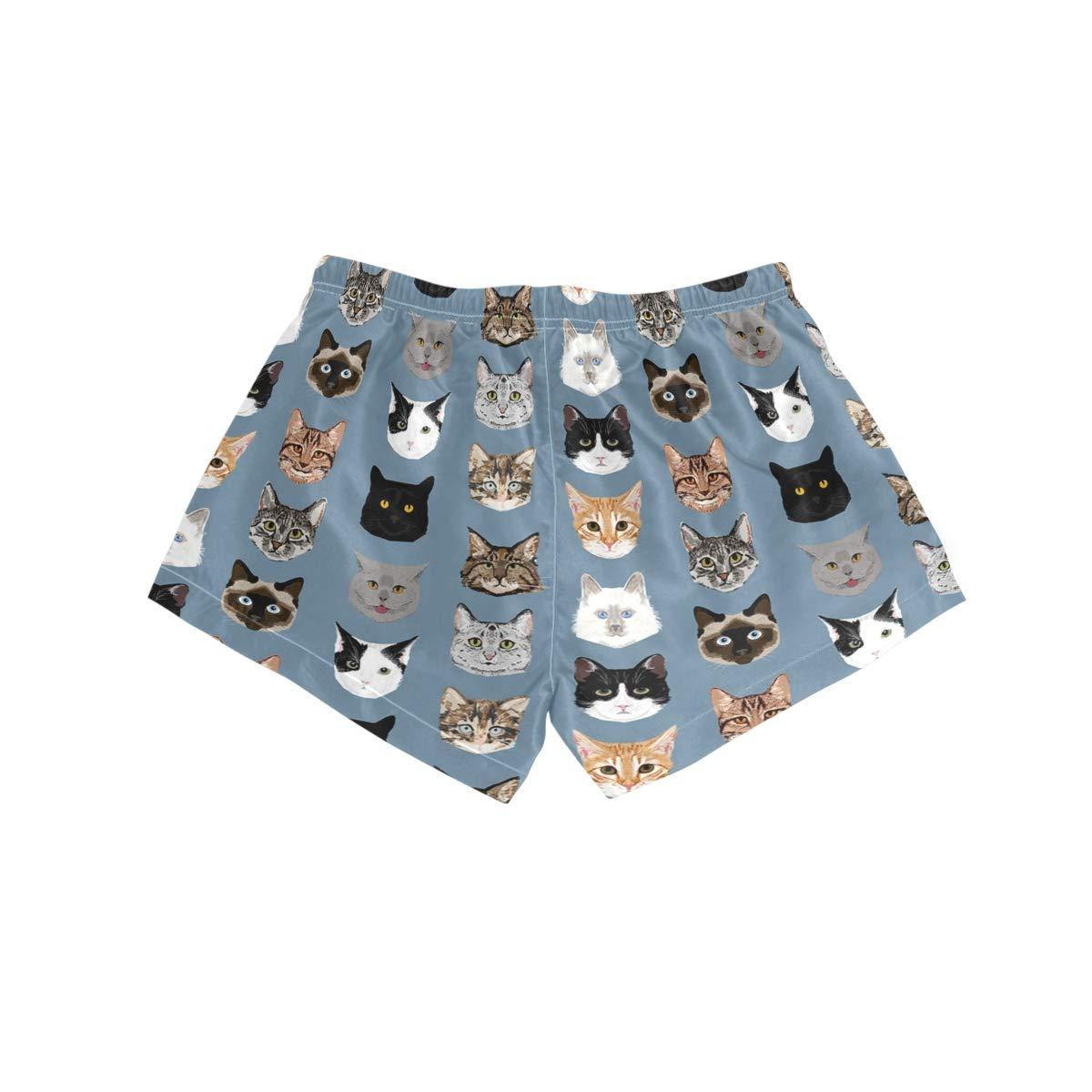 Womens Swim Trunks Quick Dry Beach Shorts with Mesh Lining Blue Grey Cat Head