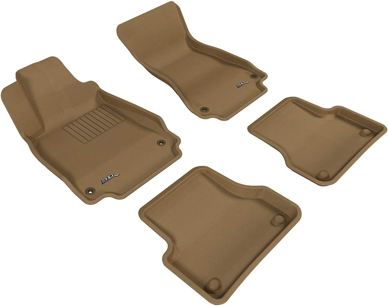 Tan 3D MAXpider Complete Set Custom Fit All-Weather Floor Mat for Select Audi A7 Models Kagu Rubber