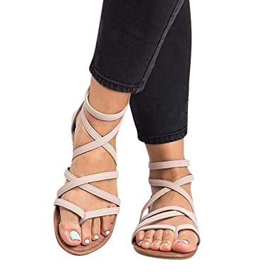 9ba250a6f6d01 Amazon.com: Memela Clearance sale Women's Flat Sandals Gladiator ...