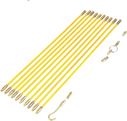 10pcs Fiberglass Cable Running Rods Kit Fish Tape Electrical Wire Coaxial