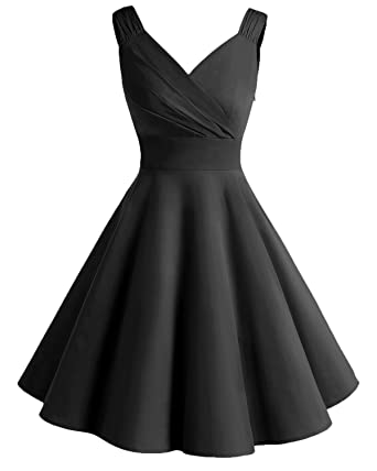 Bridesmay Womens Vintage Dresses 1950s A-Line Retro Swing Party Dress Black S