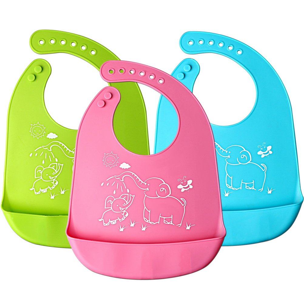 wotu 3 Pcs Silicone Baby Bibs, Unisex Food Catcher Pocket Catch-All Soft Waterproof Bib Perfect Shower Gifts for Baby