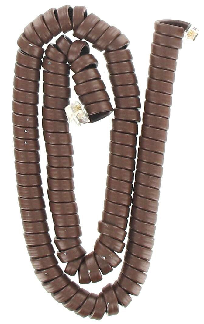 15' Brown Telephone Coil Cord