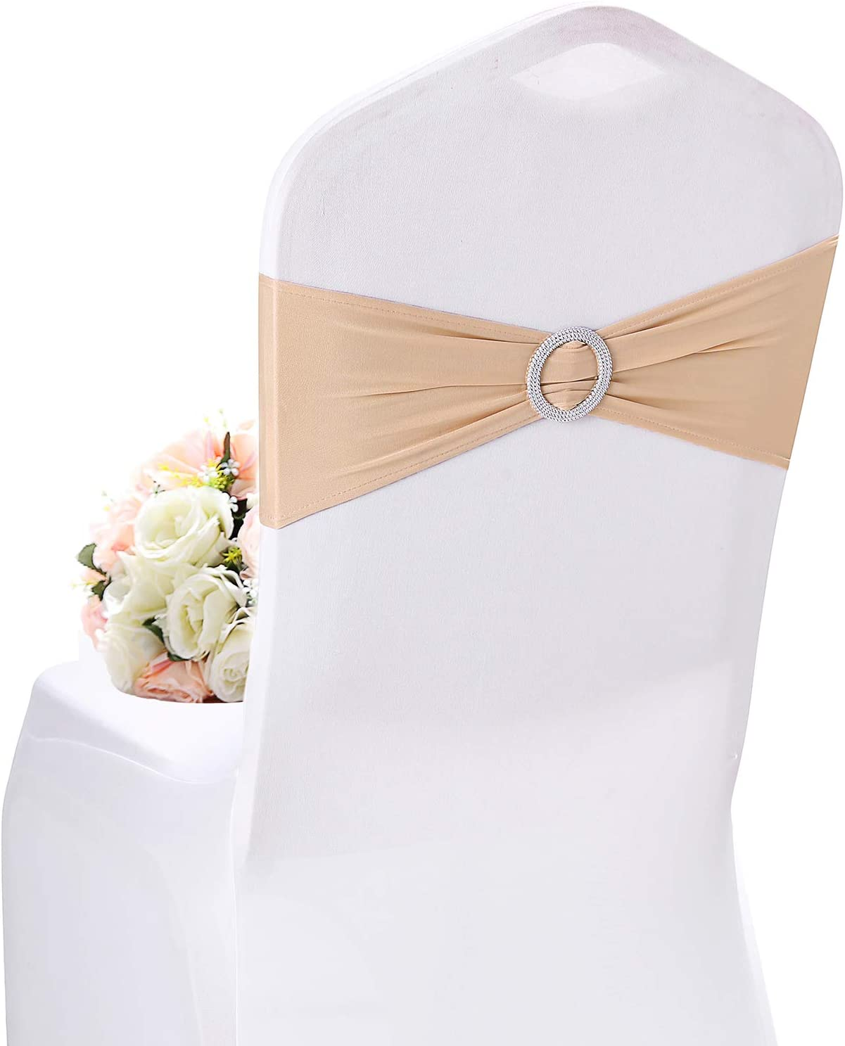 10pcs Spandex Stretch Chair Back Band Cover With Buckle Wedding Party Decor New