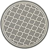 Safavieh Courtyard Collection CY6918-246 Anthracite and Beige Indoor/ Outdoor Round Area Rug (4' Diameter)