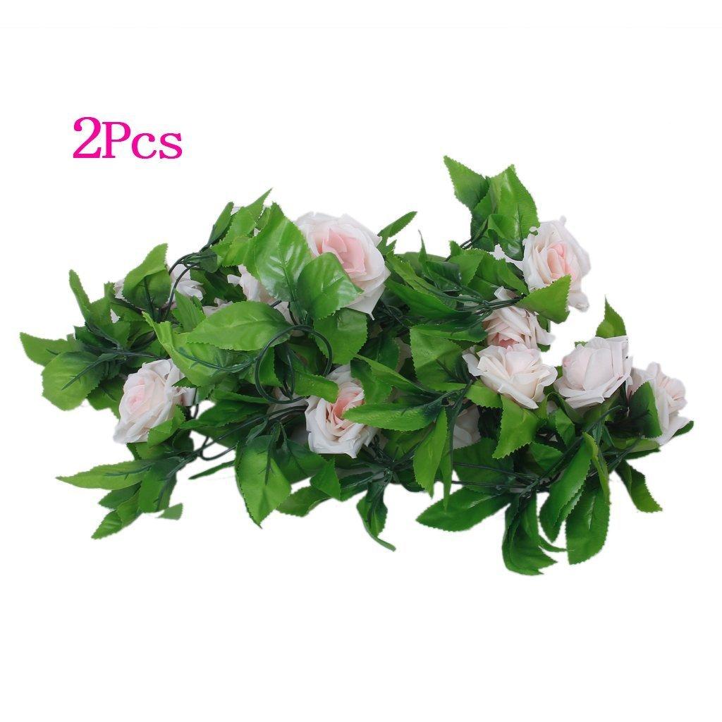 Artificial garland-SODIAL(R) 2 x Rose Artificial garlands Wedding / Garden / Decoration of Interior - Green and Pink TOOGOO(R) AEQW-WER-AW139405