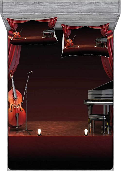 Lunarable Musical Theatre Fitted Sheet & Pillow Sham Set, Orchestra Symphony Theme Stage Curtains Piano Cello Music Design, Decorative and Printed 3 Piece Bedding Set, Full, Burgundy Black