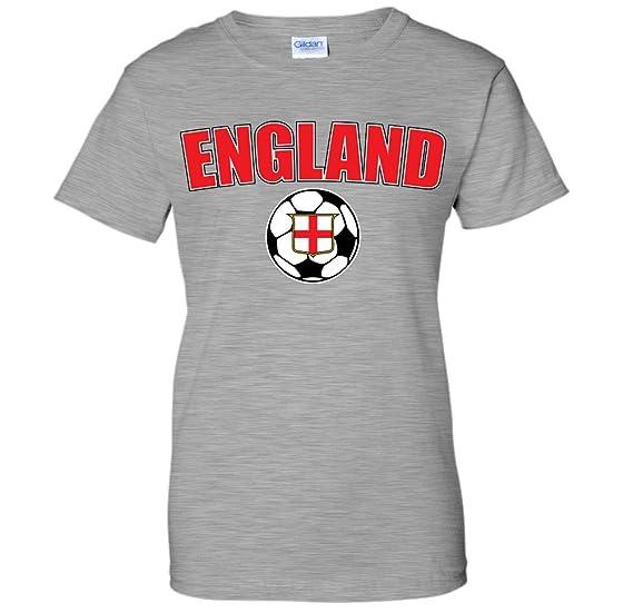 867246c68 England Soccer Ball Flag Crest -English Pride WOMENS T-Shirt (Small AGRAY)