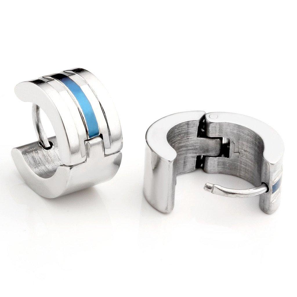 Zysta 4pcs Mens 18G Stainless Steel Silver, Gold, Unique Small Hoop Huggie Hinged Ear Stud, Hypoallergenic Snap Punk Earrings