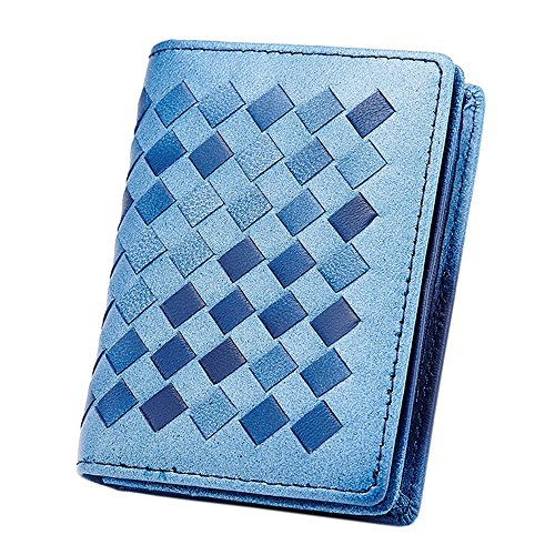 Boshiho Woven Lambskin Leather Mini Credit Card Case Organizer Compact Wallet (Blue Bicolor) ()