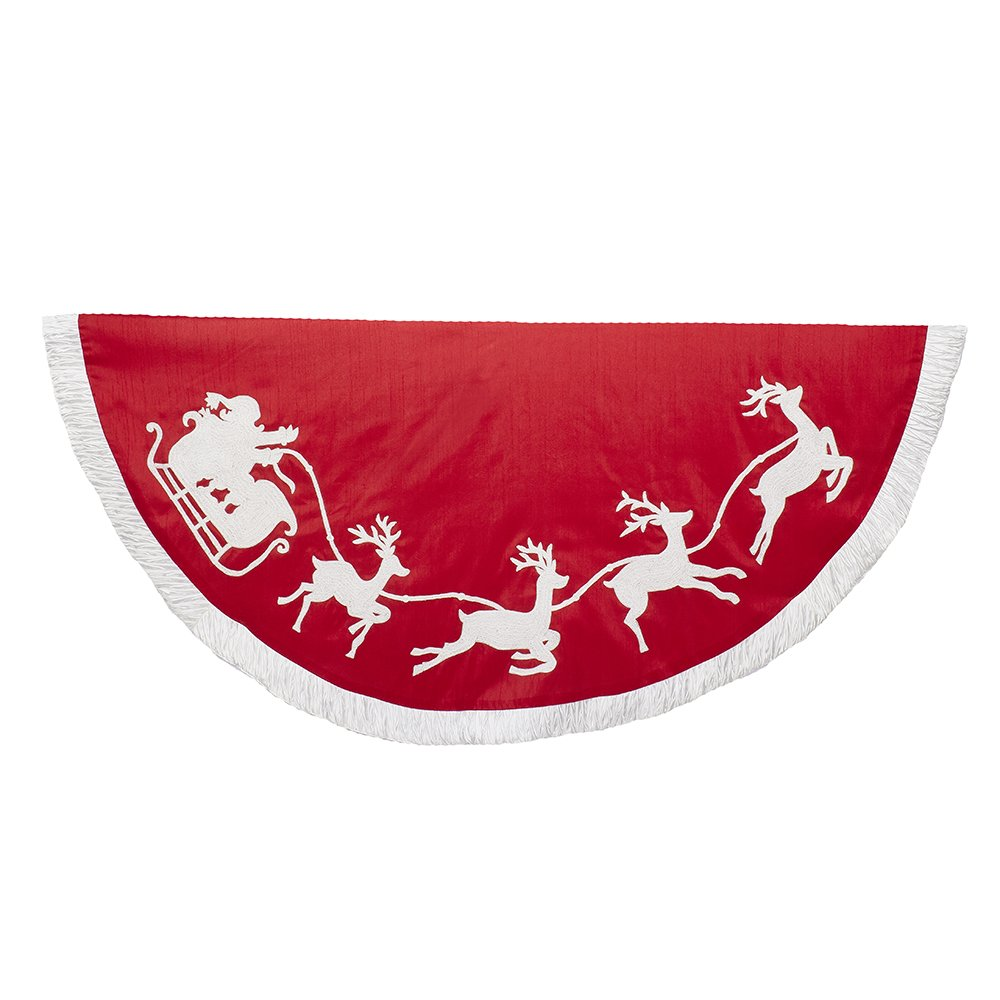 Kurt Adler - 50'' Red and White Embroidered Santa and Reindeer Tree Skirt