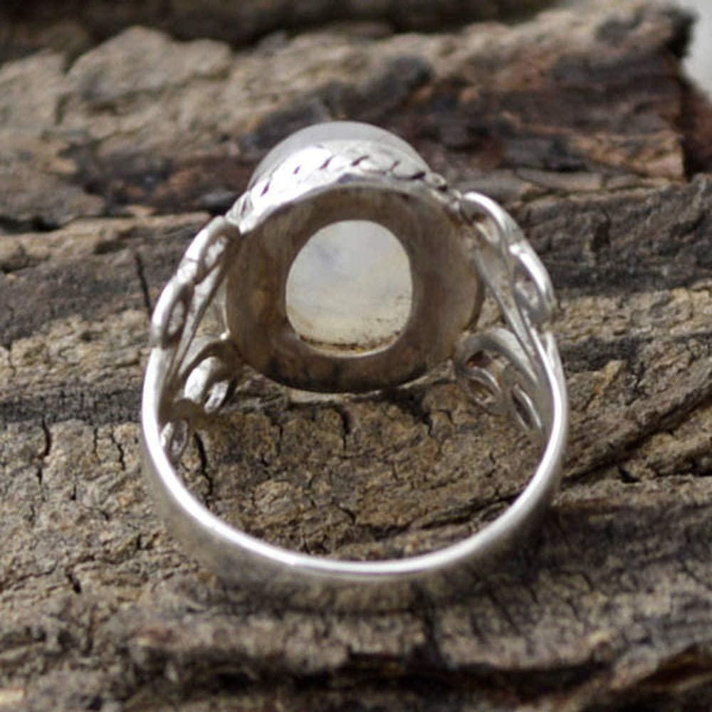Beclgo Ring,Vintage Moonstone Stone Thai Silver Ring