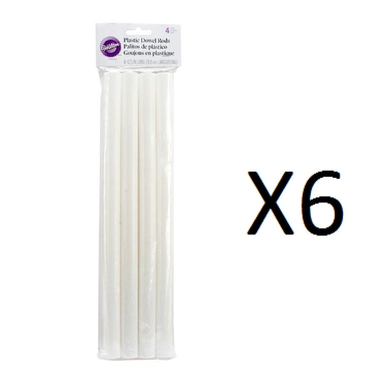 Bulk Buy: Wilton Plastic Dowel Rods 4/Pkg 12 3/8in. x 3/4in. (6-Pack)