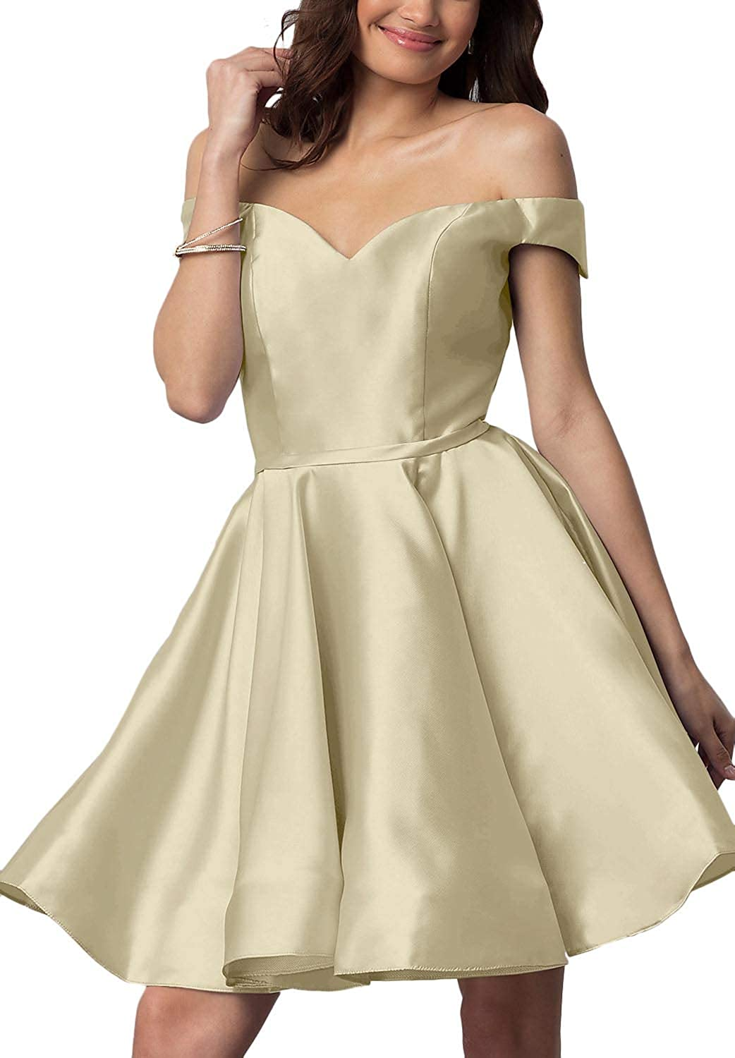 Champagne YnanLi Dress Short Off Shoulder Homecoming Dresses for Junior Cocktail Ball Gown with Pocket
