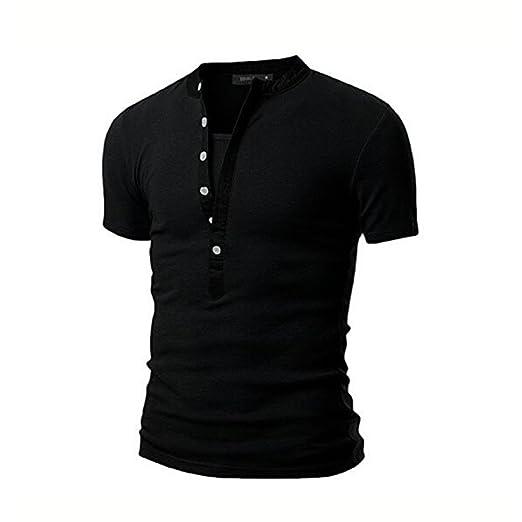 Herren Kurzarm V-Ausschnitt Knopf Dekor Patchwork-T-Shirts aus Baumwolle T- Shirts (XXL, schwarz): Amazon.de: Bekleidung